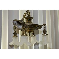 Antique brass four branch ceiling fixture with satin glass shades