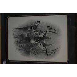 """Pair of framed prints """"Big Buck"""" and """"Bull and Cow Moose"""", pencil signed by artist Dallen Lambson"""