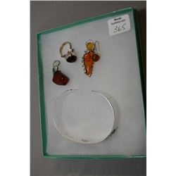 Selection of brand new sterling silver including golden sphere earrings, red cherry amber ring and p