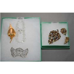 Signed Sherman champagne Aurora borealis leaf shaped brooch and matching signed Sherman earrings plu