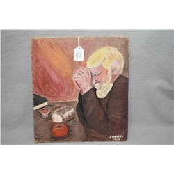 Unframed acrylic on board painting of a gentleman saying grace signed by artist J.Healey '73 (possib