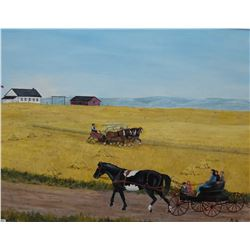 """Framed acrylic on board painting of a harvest scene with horse, initially by arist B.H, 18"""" X 24"""""""