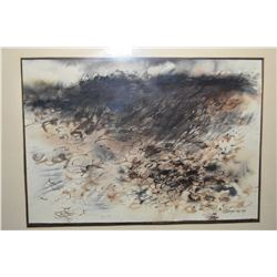 """Original watercolour """"Sea Storm"""" labeled on verso and signed by artist R.R.Ungstad '64, 18"""" X 25"""""""