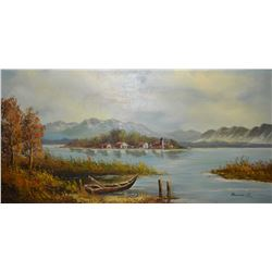 """Large framed oil on canvas painting of a shoreline farmyard signed by artist Bonnie Lee, 24"""" X 48"""""""