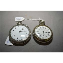 Two antique pocket watches including 15 jewel Woodruff & Son, Woodstock, Ontario, enamelled dial wit
