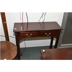 Two pieces of modern furniture including a two drawer console table and modern component stand