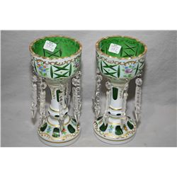 Pair of antique cased glass, white cut to green girandoles with handpainted floral and gilding and h