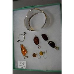 Selection of brand new sterling silver including hammered bangle, golden amber pendant, gold spear e
