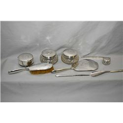 Vintage Birks sterling silver nine piece dressing table set including hand mirror, hairbrush, comb s