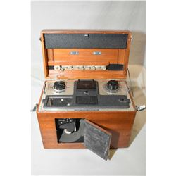 Vintage mahogany cased Sanborn VISO Cardiette electrocardiogram machine with factory dust cover