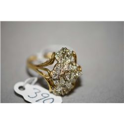 Ladies 14kt yellow gold and diamond ring set with1.04cts of brilliant round cut diamonds. Retail rep