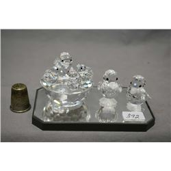 Selection of Swarovski crystal including mother bird in nest, and two ducks