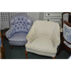 Two vintage upholstered parlour chairs including a violet coloured button tufted slipper chair and a