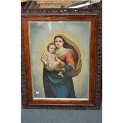 Large antique pierced edge frame with large Madonna and child print, overall dimension including fra