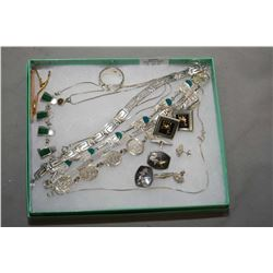 Selection of sterling silver jewellery including bracelets, gent's cufflinks, ring, nekclase with ma