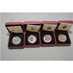 """Four Royal Canadian mint boxed lenticular 3D coloured collector's coins including """"Holiday Toy Box',"""