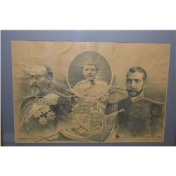 """Antique reframed """"Future Kings of England-1897 including print of a young Albert Edward: Prince of W"""