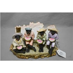 """Antique bisque Black Americana figural napkin holder featuring four little boys eating melon 4"""" in a"""