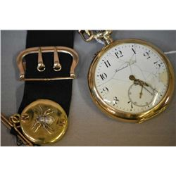 Vintage 14kt yellow gold watch fob marked Hungary with attached locket and a 14kt yellow gold 15 jew
