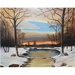 """Framed acrylic on board painting of winter pond scene signed by artist Carter 24"""" X 30"""""""