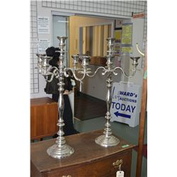 """Two nickel plated five branch candle holder 33"""" in height and a brass floor standing sheet music hol"""