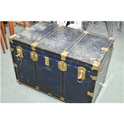 Vintage blue metal, brass bound steamer trunk with removable tray