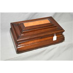 Antique mahogany Victorian jewellery casket with compartmentized pull out tray and mirrored undersid
