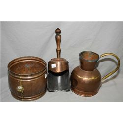 Three pieces of vintage copper including jardinere with brass lion's head handles, coal scoop and a