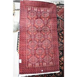 100% wool throw rug with multiple borders, triple medallion in shades of cranberry, royal blue and s