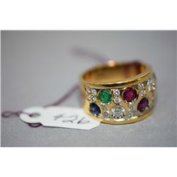 Ladies 18kt yellow gold, bead set diamond and natural gemstone ring, set with 0.66ct of brilliant cu
