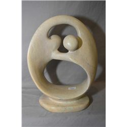 """Abstract figural soapstone sculpture, no artist signature seen, 11"""" in height"""