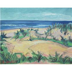 Pair of acrylic on canvas paintings in antique frames including stylized forest scene and a beachy s