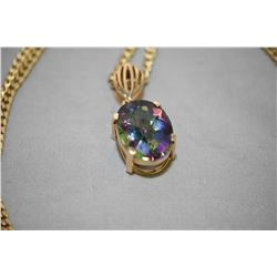 """Ladies 14kt yellow gold pendant set with 15.25ct oval faceted mystic topaz gemstone on a 28"""" 10kt ye"""