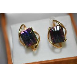 Ladies 14kt yellow gold and mystic topaz gemstone earrings, set with two rectangular fantasy cut mys