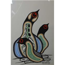 """Framed original acrylic on paper painting of three birds signed by artist Dennis Kakegamic, 21"""" X 15"""