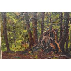 """Framed oil on board painting, marked on verso """"Forest Interior, Franz Johnston 1921"""" and signed Fran"""