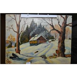 """Unframed oil on board painting of a winter cabin signed by artist Norwells and marked on verso """"Unti"""