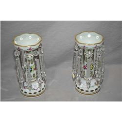 Pair of antique cased glass, white cut to clear girandoles with handpainted floral and gilding and h