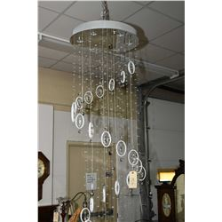 "Artcraft ""Starlight"" series 84"" hanging ceiling fixture with hallogen bulbs and hanging crystal lust"