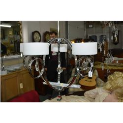 Five branch chrome chandelier with frosted white globes, hanging lustres and LED lights