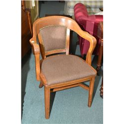 Solid oak open arm office chair with upholstered seat and back, made by Krug