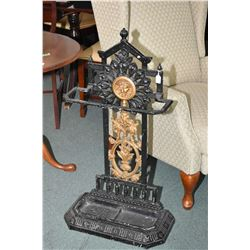 "Antique cast stick stand with removable tray, Medussa head cameo and decorative back, 37"" in height"
