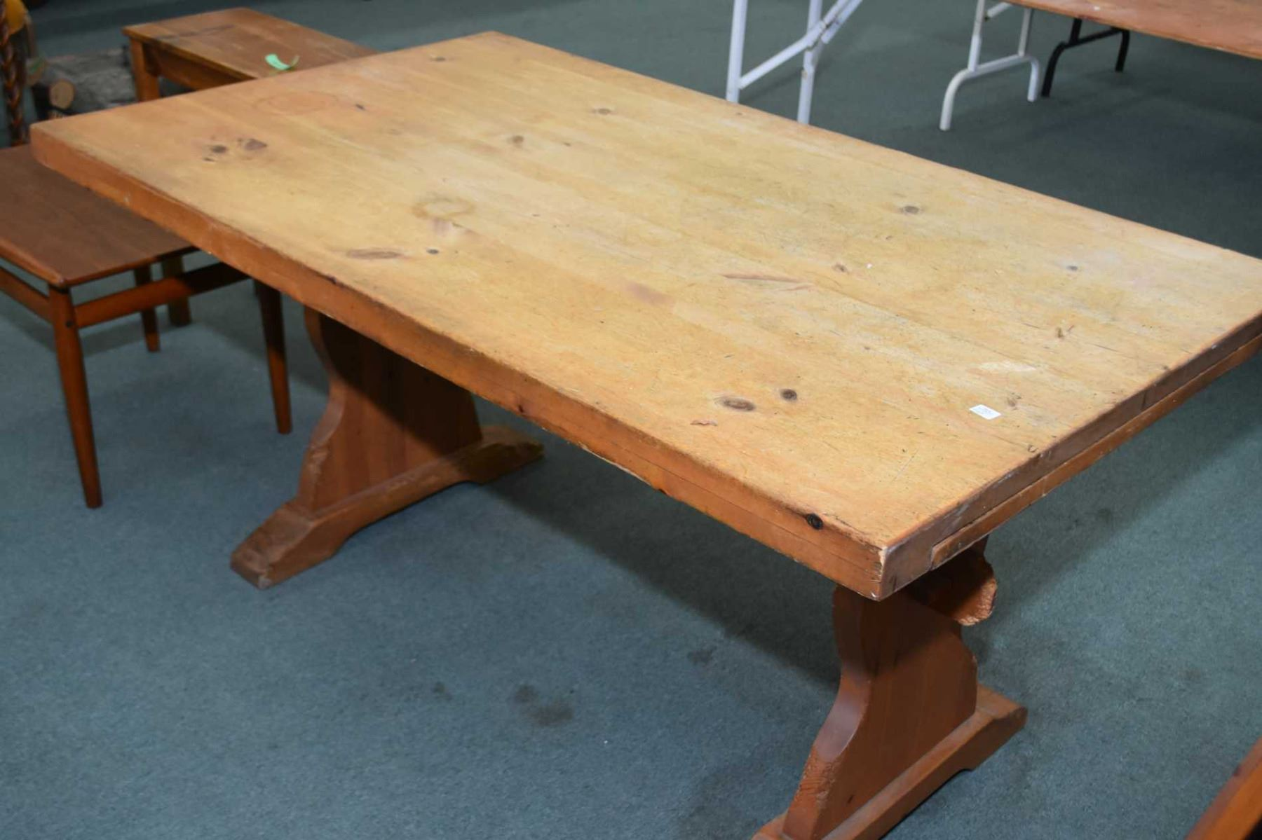 Superbe Image 1 : Quebec Pine Harvest Table With Trestle Base And Two Leaves On  Pull