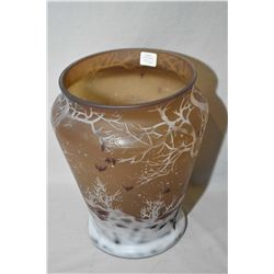 "Galle style acid etched vase with wintery scene, 10"" in height"