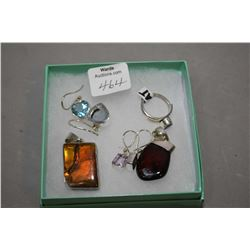 Selection of brand new sterling silver including large ammolite pendant, red cherry amber pendant, b