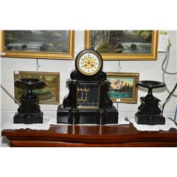 Antique slate chiming mantle clock with brocot escapement, mecury pendulum, porcelain dial with arab