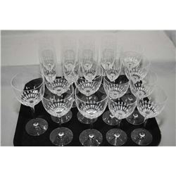 Selection of Villeroy and Bosch etched stemware including eight champagne flutes, six small wine gla