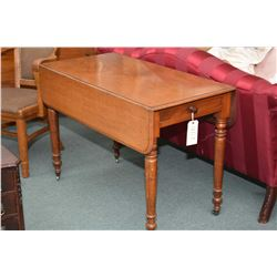 Antique Victorian mahogany drop leaf kitchen table with turned supports and single drawer