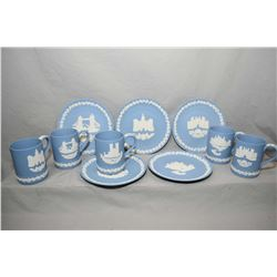 Five Wedgwood Jasperware tankards with matching plates including West Minster Abbey, Horse Guards, H