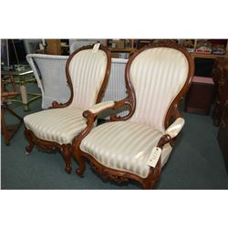 Pair of matching mahogany His/Her's upholstered parlour chairs with beatifully carved show wood
